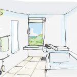 浴室窓の位置。開け閉めしやすく海がみえる場所はどこ?
