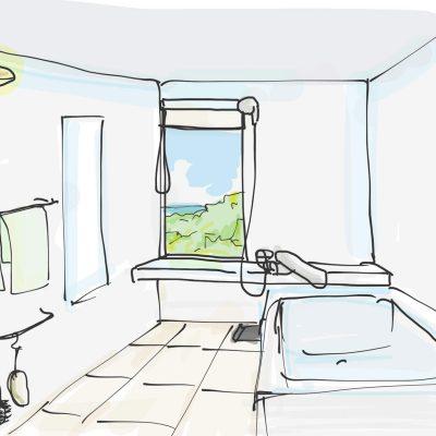 浴室から海がみえるようにした